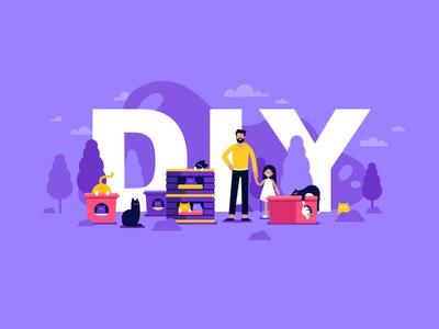 DIY fun cloud explainer shelter upcycling girl man cats violet tree diy illustration