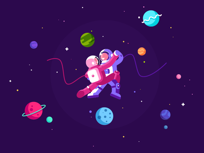 Tango in Cosmos pose cosmonaut planet love character fun tango dance universe cosmos 2d violet illustration