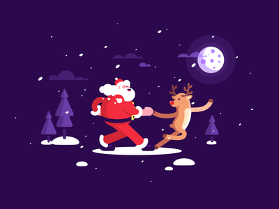 Santa + Deer = Tango trees snow tango dance fun art cute deer santa winter fun happy violet 2d character illustration