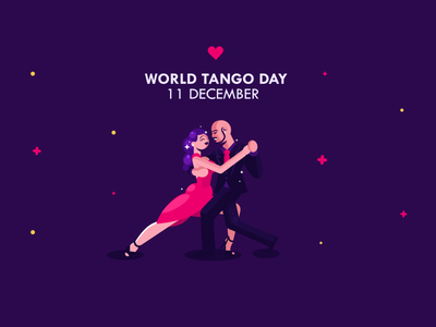 Tango = Love pose flat love tangoday tango dance man fun happy violet 2d character girl illustration
