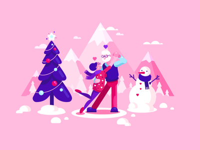 Happy Tango Valentine's Day valentines day mountain snow dance flat pink love tango 2d cartoon illustration