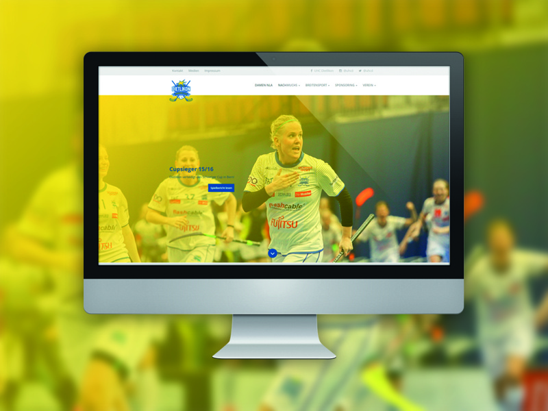 WordPress Website UHC Dietlikon bootstrap team club floorball yellow blue wordpress redesign