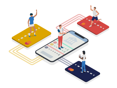 'Payment system' for Sports App bank account phone card payment sports isometry isometric vector ux ui illustration