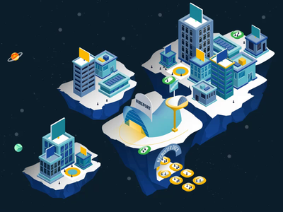 Hero Animation for Hireport svg animation lottie animation motion design after effects web svg lottie isometric animation isometric illustration isometry isometric illustration motion vector design animation