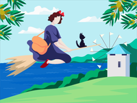 Shodoshima feat. Kiki's Delivery Service girl olives wind ocean mill cat witch japan shodoshima kikis delivery service motion animation