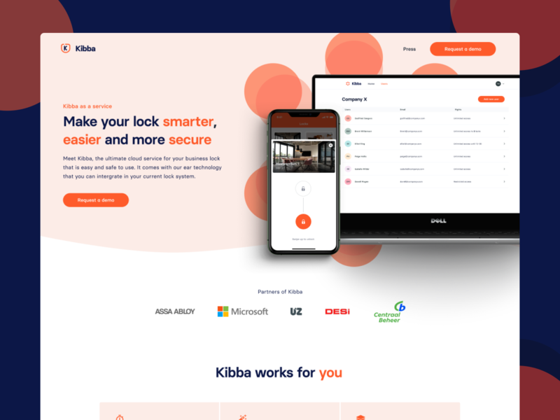 Smart Lock Kibba - Landing Page dashboard ios iphone blue react native reactjs react website design website web orange iot smart webflow branding interface ui landing page design