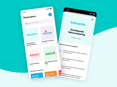 Concept design for Dutch insurance company interpolis mobile ui company insurance digital reversed ux design app