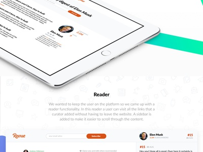 Revue - Case Page web ux sketch simple ui white design landing page interface website newsletter revue
