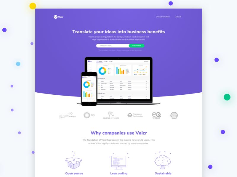 Vaizr Product Landing Page platform interface website landing page product