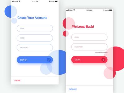 Sign Up & Login ui app appdesign signup login