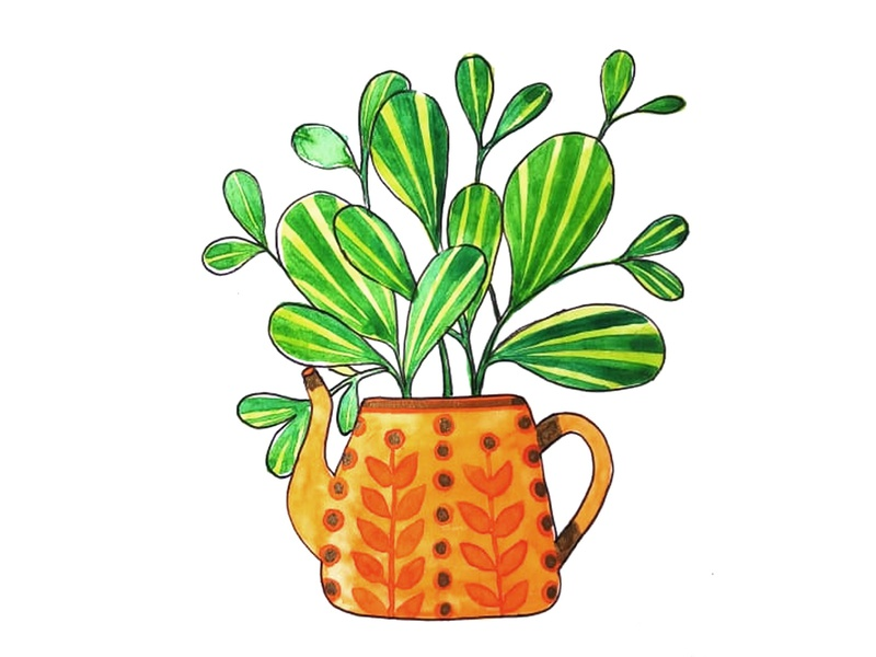 Painting flower pot painting