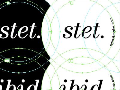Stet. stet ibid button black white type typography typecon typostrophe illustrator century italic