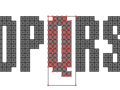Building Bits type typography typeface eworld bitmap illustrator vector red grey gray tight compressed condensed modular