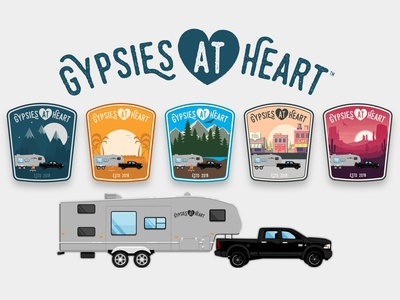 Gypsies at Heart - Mountains - Badge Design 🏕 traveling brand design brand logos logo designs badge badge design