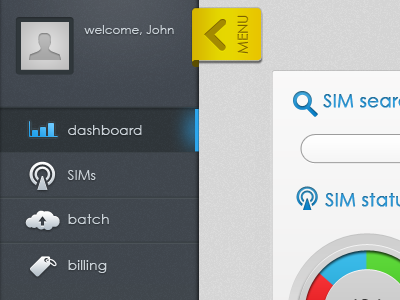 Dashboard Menu app menu dashboard web