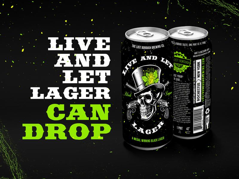 Live and Let Lager Can Drop canart blacklager liveandletlager beer branding brewery beer art beer lostboroughbrewing