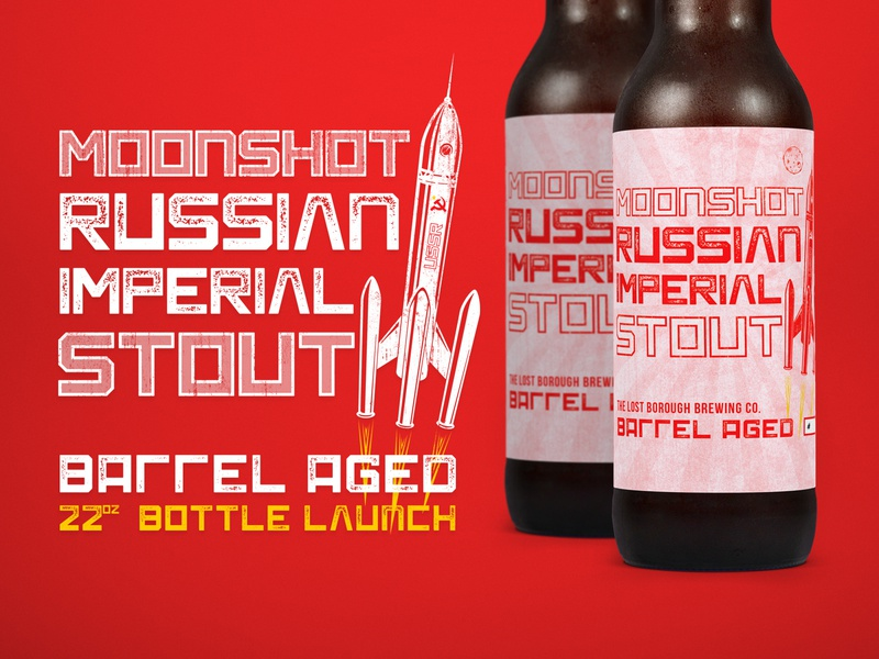 Moonshot Russian Imperial Stout Bottle Launch bomberbottles 22oz bottlelaunch moonshot beer brewery beer branding beer art lostboroughbrewing