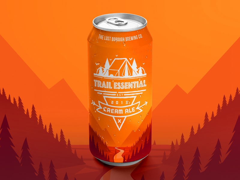 Trail Essential Cream Ale Can 16oz beer can can cream ale trail essential beer brewery beer branding beer art lostboroughbrewing