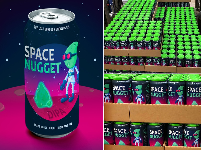 Space Nugget DIPA Can cant art dipa double ipa space nugget beer beer branding beer art brewery lostboroughbrewing