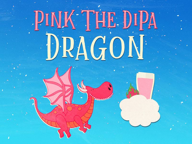 Pink the DIPA Dragon dragonfruit doubleipa dipa brewery beer beer branding beer art lostboroughbrewing