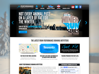 Performance Running Website Splash Page