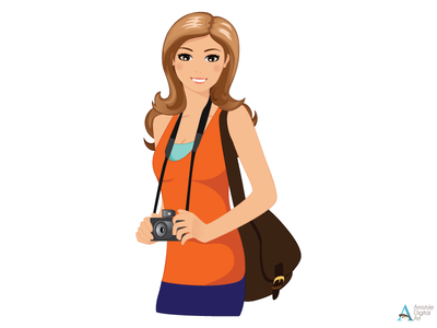 Travelling Woman Character Designs 1. character design avatar profile illustration vector art