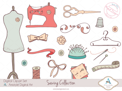 Hand Drawn Sewing Collection Clip/Vector Arts graphic design clipart vector art design elements