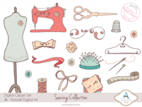 Hand Drawn Sewing Collection Clip/Vector Arts