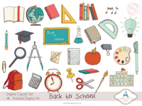 Hand Drawn Back to School Clip/Vector Arts