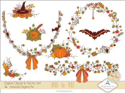 Boo to You - Halloween Clipart&Vector graphics graphic designs illustration vector art fall autumn halloween
