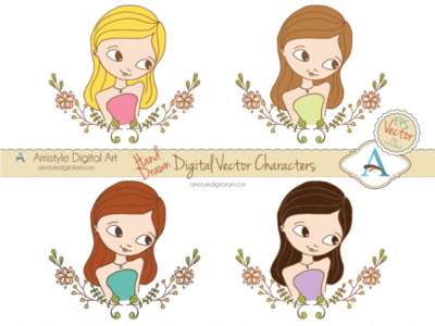Hand Drawn Woman Character Avatars avatar profile character clipart woman girl floral laurel