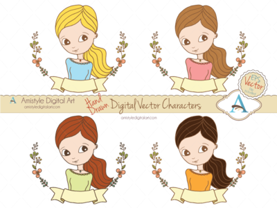 Hand Drawn Woman Character Avatars II. avatar profile character clipart woman girl floral laurel
