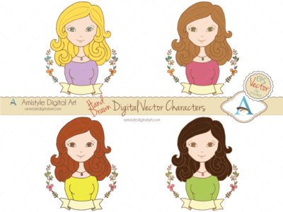 Hand Drawn Woman Character Avatars III. avatar profile character clipart woman girl floral laurel
