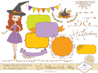 Halloween girl - Abby - Clipart & Vector Sets