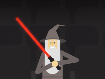 Gandalf Waits in Front Row Seats funny movie theater sith light saber character design illustration gandalf star wars