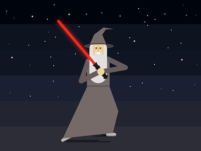 Gandalf Sith? stars character design illustration light saber star wars gandalf