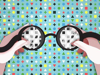 A Clearer Perception diversity metaphor design shapes blue texture pattern hands goggles illustration