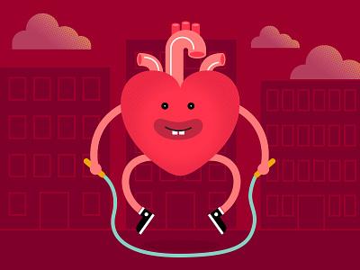 Heart Jumper valentines 2d design street clouds illustration character design jump city jump rope heart