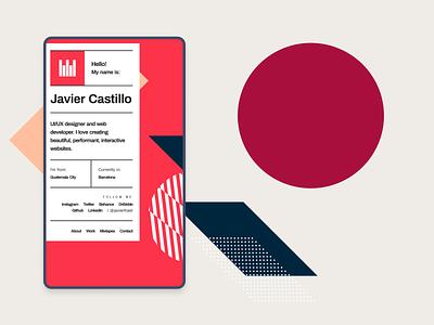 Personal Portfolio - Mobile website minimal flat app ui vector web design illustration geometric