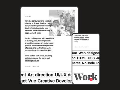 Personal Portfolio - About personal portfolio minimal ui web editorial