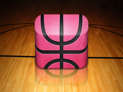 Dribbble App Icon app icon ios iphone ipad 3d basketball court sports dribbble mac os x icon design
