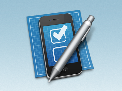 iOS Development Tool Icon mac os x application icon developer coder iphone ios blueprint pen check grid mobile