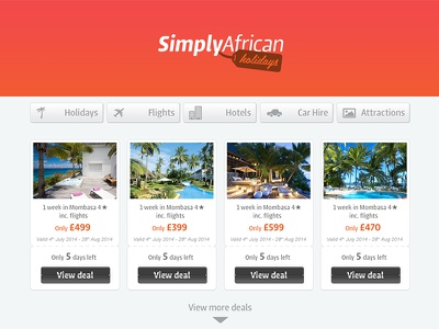Simply Africa Holidays ux design web website holiday deals africa