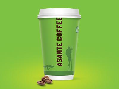 Asante Coffee Logo & Cup coffee logo brand vector illustration design cafe cup kenya