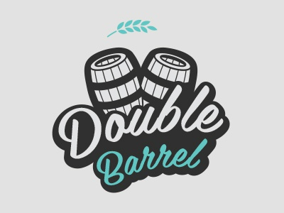 Double Barrel Logo logo beer design branding ale drink barrel
