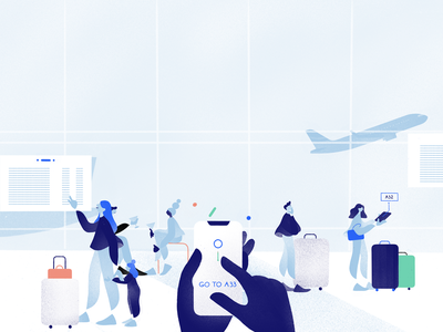 Airport editorial conceptual cartoon drawing texture animation minimal 2d illustration character