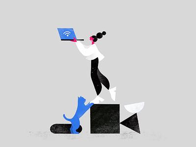 Addiction cat social media editorial texture conceptual cartoon drawing animation minimal 2d illustration character