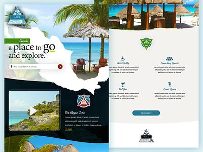 Travel site brochure identity home page web colorful beach travel website landing page web design logo brand branding