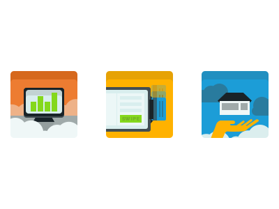 Icons: A different style experimental style flat icons web
