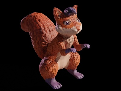 Painted 3D Squirrel Mascot